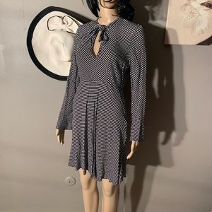 Zara Woman Size L Polka Dot Dress Long Bell Sleeve